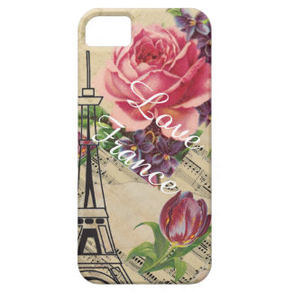 Vintage Look Love France Chic Floral Phone Case