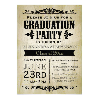 Vintage-Look Old-Time Graduation Party Invitation