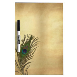 Vintage Look Peacock Feather on Gold Dry Erase Board
