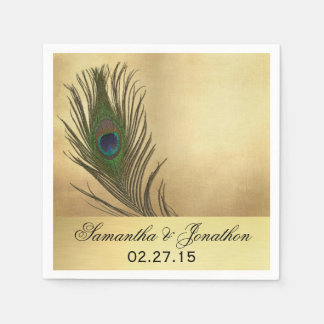 Vintage Look Peacock Feather Wedding Disposable Napkin