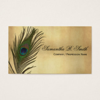 Vintage Look Peacock Feathers Elegant Business Card