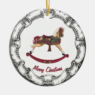 Vintage Look Rocking Horse Round Ceramic Ornament