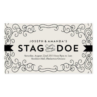 Vintage look Stag and Doe Event Ticket // Black Business Card