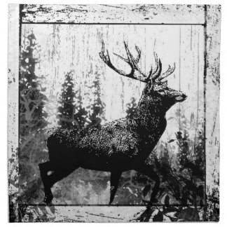 Vintage look Stag in Black and White Deer Animal Napkin