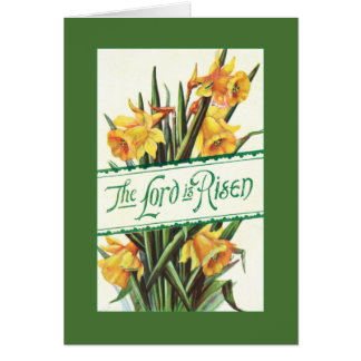 Vintage Lord is Risen with Yellow Daffodils Card