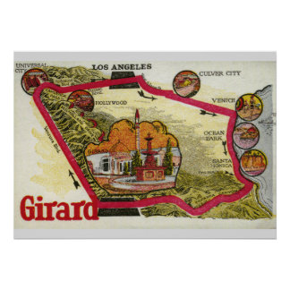 Vintage Los Angeles Map Poster
