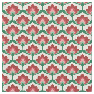 Vintage Lotus Flower Blossom Fabric