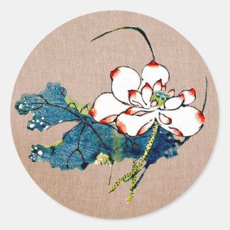 Vintage Lotus Flower Classic Round Sticker