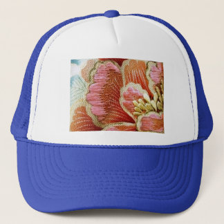 Vintage Lotus Flower Embroidered Texture Trucker Hat