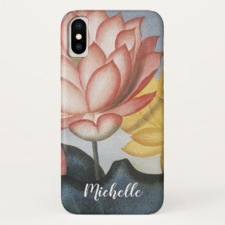Vintage Lotus Flowers With Leaves in a Pond iPhone X Case