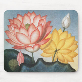 Vintage Lotus Flowers With Leaves in a Pond Mouse Pad