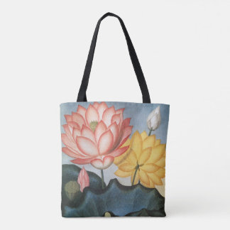 Vintage Lotus Flowers With Leaves in a Pond Tote Bag