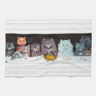 Vintage Louis Wain Cats Supper Art Tea Towel
