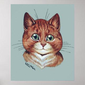 Vintage Louis Wain Orange Tabby Cat Poster