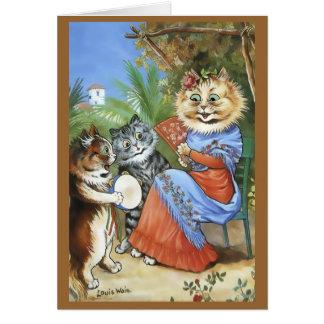 Vintage Louis Wain Tambourine Cat Card