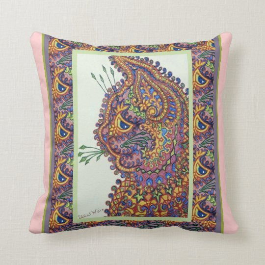 Vintage Louis Wain Wallpaper Cat Throw Pillow
