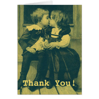 Vintage Love and Romance, Children Kiss Thank You Card