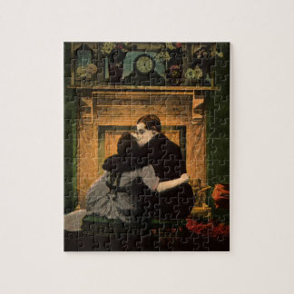 Vintage Love and Romance Couple Romantic Fireplace Jigsaw Puzzle