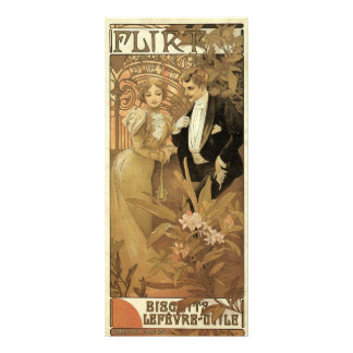 Vintage Love and Romance, Flirt by Alphonse Mucha Personalized Rack Card