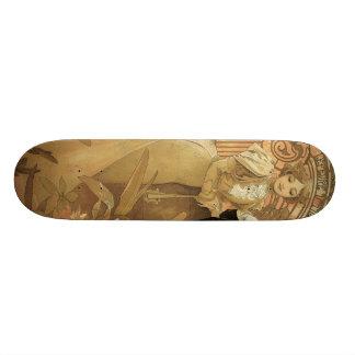 Vintage Love and Romance, Flirt by Alphonse Mucha Skateboard