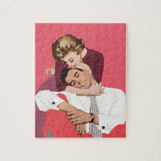 Vintage Love and Romance, Newlyweds in Pink Jigsaw Puzzle