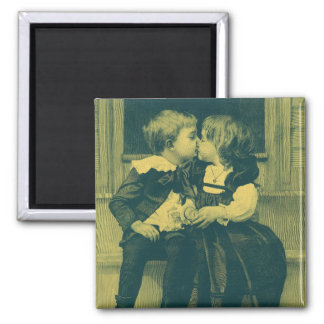 Vintage Love and Romance Photo, Children Kiss Magnet