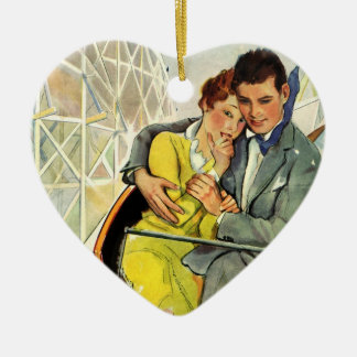 Vintage Love and Romance, Roller Coaster Ride Ceramic Ornament