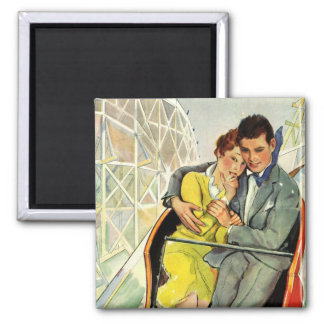Vintage Love and Romance, Roller Coaster Ride Square Magnet