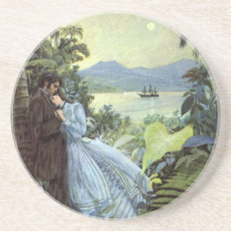 Vintage Love and Romance, Romantic Tropical View Coaster