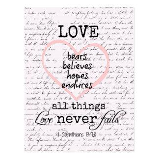 Vintage Love Bible Verse Postcard