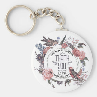 Vintage Love Bird Floral Thank You Wedding Favor Keychain