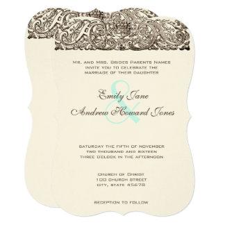 Vintage Love Bird Scroll Work Wedding Invitation