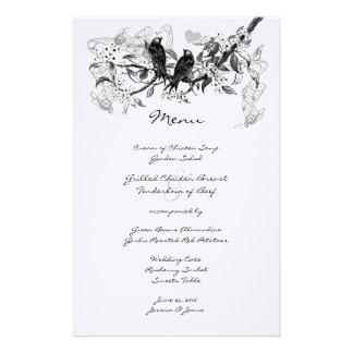 Vintage Love Bird White Flower Branch Wedding Menu