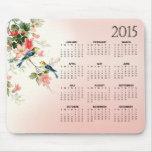 Vintage Love Birds 2015 Calendar blush pink white Mousepad
