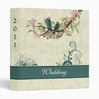 Vintage Love Birds Aqua Teal Pink Wedding Planner Binders