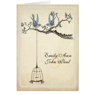 Vintage Love Birds Bird Cage Wedding Invitations