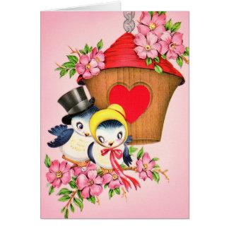 Vintage Love Birds Birdhouse Valentine Card