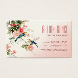 Vintage Love Birds | blush pink white Business Card