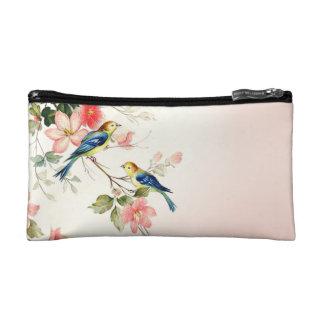 Vintage Love Birds   blush pink white Cosmetic Bag