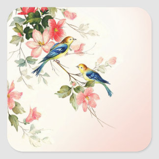 Vintage Love Birds   blush pink white Square Sticker