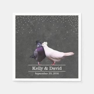 Vintage Love Birds Confetti Chalkboard Wedding Disposable Napkin