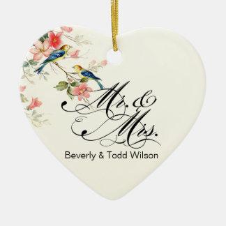Vintage Love Birds Mr. & Mrs. | white PHOTO Ceramic Heart Ornament