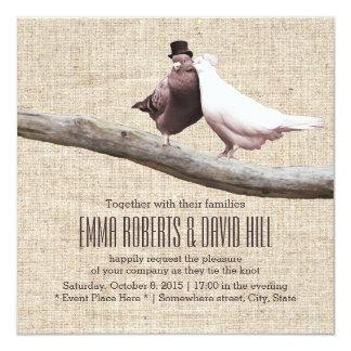 "Vintage Love Birds on Branch Burlap Wedding 5.25"" Square Invitation Card"