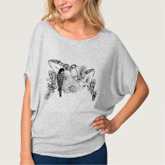 Vintage Love Birds Romantic Forest Woodpeckers T-Shirt