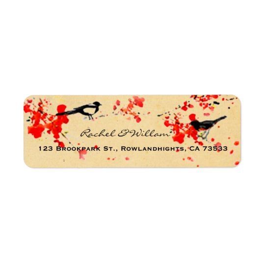 Vintage Love Birds Sakura Spring Wedding Return Address Label