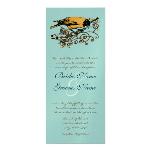 Vintage Love Birds Wedding Invitation