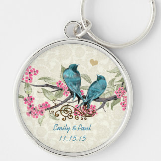 Vintage Love Birds Wedding Key Chain