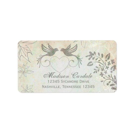 Vintage Love Birds Wedding Return Address Labels