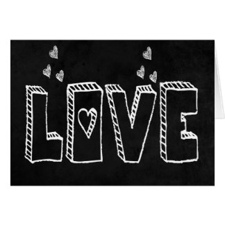 Vintage Love Black And White Chalkboard Hearts Card