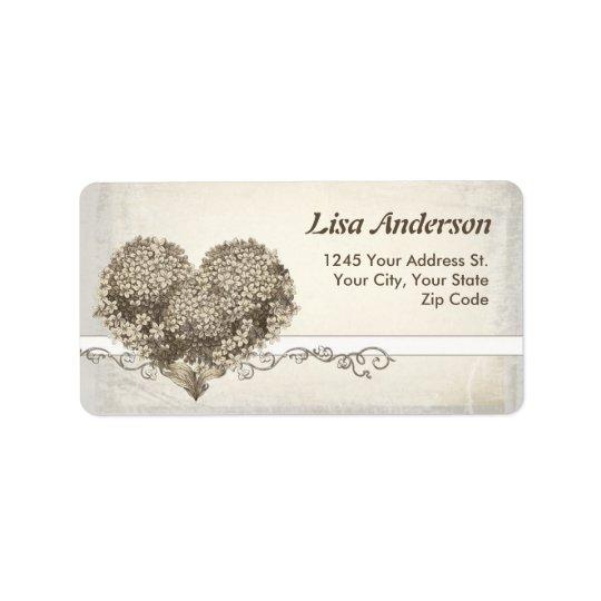 vintage love heart address label